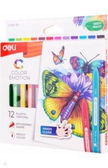 Восковые мелки Color Emotion (12 цветов, трехгранные) (EC20000)Мелки восковые<br>Мелки восковые трехгранные. 12 цветов.<br>Коробка/европод.<br>Сделано в Китае.<br>