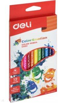 Карандаши Color Emotion (12 цветов, трехгранные) (EC00200)Цветные карандаши 12 цветов (9—14)<br>Карандаши цветные трехгранные. 12 цветов. Липа.<br>Коробка/европод.<br>Сделано в Китае.<br>