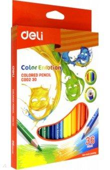Карандаши Color Emotion (36 цветов, трехгранные) (EC00230)Цветные карандаши более 20 цветов<br>Карандаши цветные трехгранные. 36 цветов. Липа.<br>Коробка/европод.<br>Сделано в Китае.<br>