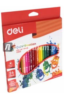 Карандаши Color Emotion (24 цветов, трехгранные) (EC00220)Цветные карандаши более 20 цветов<br>Карандаши цветные трехгранные. 24 цветов. Липа.<br>Коробка/европод.<br>Сделано в Китае.<br>