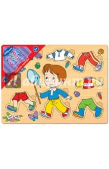 Игра из дерева Одень куклу. Кукла Саша (89304)Развивающие рамки<br>Игра настольная развивающая из дерева.<br>Экологически чистая и безопасная игрушка. Положительно влияет на развитие мелкой моторики и сенсорное восприятие ребёнка.<br>Комплектность: рамка-основа, 7 деталей.<br>Сделано в России.<br>