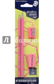 Набор чернографитных карандашей Wopex (2 штуки, HB) (180FSBK2P1)Наборы карандашей<br>Набор чернографитных карандашей Wopex.<br>В наборе: карандаши -  2 штуки, HB, точилка, ластик.<br>Цвет: неон розовый.<br>Сделано в Германии.<br>