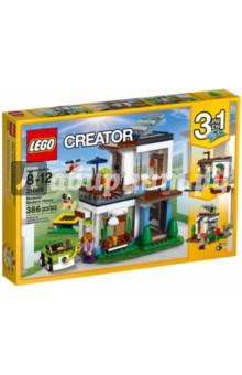 Конструктор LEGO Creator. Современный дом (31068)Конструкторы из пластмассы и мягкого пластика<br>Построй простой и красивый Современный дом 3 в 1 с большими окнами, панорамными окнами на крыше, крытым балконом и детально продуманным просторным интерьером: диваном и креслом на первом этаже и спальней на втором этаже. Прыгай с трамплина, играй с собакой на прогулке или заряди электромобиль, чтобы прокатиться на нём по городу. Используй разные сочетания сборных модулей, чтобы сделать свой дом неповторимым: замени окна и двери или построй террасу на крыше дома - выбор за тобой! Из этого набора LEGO® Creator ты также можешь построить прекрасный Дом у реки или Летний домик.<br>Материал: пластик.<br>Для детей 8-12 лет.<br>Не рекомендуется детям до 3-х лет. Содержит мелкие детали.<br>
