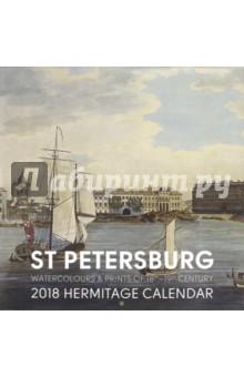 Календарь на 2018 год St. Petersburg Watercolours, 300х300Настенные календари<br>Календарь на 2018 год.<br>Количество листов: 12.<br>Бумага: мелованная.<br>Крепление: скрепка.<br>Отпечатано в России.<br>