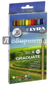 Карандаши 12 цветов, гексагональные Graduate (L2871121)Цветные карандаши 12 цветов (9—14)<br>Гексагональные цветные карандаши, 12 шт. <br>Диаметр грифеля 3,8 мм. <br>Насыщенные, богатые цвета. <br>Сертифицированная древесина. <br>Картонная упаковка.<br>Сделано в Германии.<br>