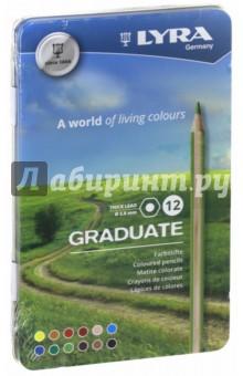 Карандаши 12 цветов, гексагональные Graduate (L2871120)Цветные карандаши 12 цветов (9—14)<br>Гексагональные цветные карандаши, 12 шт. <br>Диаметр грифеля 3,8 мм. <br>Насыщенные, богатые цвета. <br>Сертифицированная древесина. <br>Металлический пенал.<br>Сделано в Германии<br>