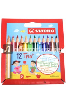 Карандаши 12 цветов Trio, трехгранные, утолщенные, укороченные (181104)Наборы карандашей<br>Карандаши цветные утолщенные укороченные STABILO Trio, 12 цветов,грифель: 4,2 мм, трехгранные,заточенные, 205/12<br>Сделано в Чешской Республике.<br>