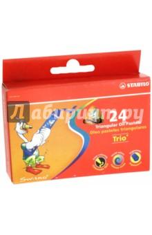 Пастель художественная, 24 цвета Trio масляная (181110)Уголь художественный. Пастель<br>Пастель художественная STABILO Trio, масляная, 24 цвета, картонная упаковка с европодвесом.<br>Сделано в Германии<br>