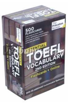 Essential TOEFL Vocabulary. Flashcards + Online (500 Flashcards)Английский язык<br>500 ESSENTIAL VOCABULARY WORDS TO HELP BOOST YOUR TOEFL SCORE!<br>Now with free online access. The Princeton Review s Essential TOEFL Vocabulary provides an easy and effective way for students to improve their TOEFL (Test of English as a Foreign Language) vocabulary skills--a critical step for scoring well on the exam. The 500 cards in this deck feature frequently-used and/or commonly-misunderstood words from the exam itself. This set includes: - Words, parts of speech, and pronunciations on the card fronts - Definitions, contextual sentence, and synonyms on the card backs, so you can really understand and remember each word - All cards accessible online when you register your purchase - Color-coded scale under the cover so you can easily track your progress - 50 additional customizable cards for you to fill in the terms you most need to study This revised edition reflects changes in vocabulary emphasis on the TOEFL in recent years--and now, for the first time, students get two studying channels for the same price: the physical card deck, plus online access to a digital version of the same deck for even greater studying flexibility!<br>