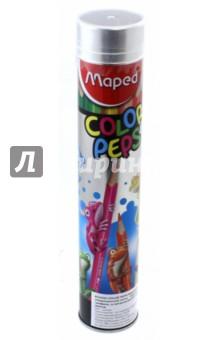 Карандаши цветные Colorpeps (12 цветов, в тубусе) (832044)Цветные карандаши 12 цветов (9—14)<br>Карандаши цветные.<br>В наборе 12 цветов.<br>Корпус из американской липы<br>Ударопрочный грифель.<br>Эргономичная треугольная форма.<br>В металлическом тубусе.<br>Сделано в Китае.<br>
