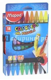 Пастель масляная Colorpeps (18 цветов) (864011)Уголь художественный. Пастель<br>Пастель масляная.<br>В наборе 18 цветов.<br>В бумажном чехле.<br>Сверхмягкие.<br>Яркие цвета.<br>Эргономичная треугольная форма.<br>Сделано в Корее.<br>