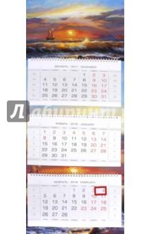 2018 Календарь квартальный. 3 блока, ЛЮКС, Морской вид (3Кв3гр2_16874)Квартальные календари<br>Календарь квартальный 3-хблочный на 2018 год, на 3-х двойных гребнях, 2-хцветный блок, с бегунком.<br>Сделано в России.<br>