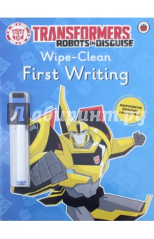 Transformers. Robots in Disguise. Wipe-Clean First WritingЛитература на иностранном языке для детей<br>This fun Transformers: Robots in Disguise activity book has shiny, wipe-clean pages and a special pen to make practising first handwriting and alphabet skills as easy as A, B, C!<br>Each page covers both upper-case capital letters and lower-case letter shapes in alphabetical order, with a colourful Transformers image alongside each one - from B for Bumblebee to O for Optimus Prime. The book teaches children to write letters in the correct way with their pen, using coloured arrows for them to follow, and allows lots of space for them to practise each letter on their own. Also includes guidance for left-handed children who may need to form some letters differently.<br>This book is perfect for helping to support children as they learn to write the English alphabet at school or at home, and is the ideal companion to Transformers: Robots in Disguise - Wipe-Clean First Spellings.<br>