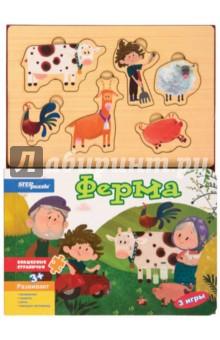 Книжка-игрушка Ферма (93310)Книжки-игрушки<br>Книжка-игрушка для чтения взрослыми детям.<br>Игра настольно-печатная из картона, в том числе с элементами пластмассы, дерева с маркировкой.<br>