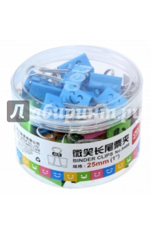 Зажимы. 25 мм, ассорти Smile (упаковка 48 штук) (8486)Зажимы<br>Металлические разноцветные зажимы 25 мм Smile в пластиковой тубе.<br>48 штук в упаковке.<br>Сделано в Китае.<br>