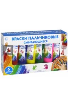 Пальчиковые краски (6 цветов, смывающиеся) (1807)Краски для рисования пальцами<br>Набор для детского творчества: смывающиеся пальчиковые краски.<br>6 цветов по 90 мл: красная, синяя, желтая, зеленая, розовая, фиолетовая.<br>Материал: пластмасса, краски.<br>Не рекомендуется детям до 3 лет.<br>Сделано в Китае.<br>