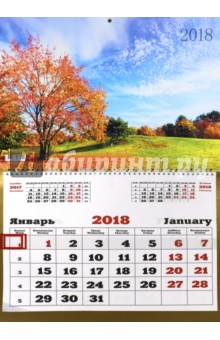 Календарь на 2018 год Пейзаж. Золотая пора (настенный, одноблочный) (ККОБ1807)Настенные календари<br>Большой календарь на 2018 год, настенный, одноблочный, с курсором для выделения текущей даты.<br>Крепление: спираль.<br>