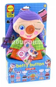 Развивающая игрушка Бетти Пуговка (1496B)Другие игрушки для малышей<br>Одень куклу Бетти для модного показа. Детали можно комбинировать по своему вкусу и создавать бесконечное количество образов.<br>Игрушка способствует развитию моторики и воображения ребенка.<br>В наборе: тряпичная кукла с 8 пуговками, к которым можно пристегивать различные аксессуары и менять ее образ. 27 предметов: сменные лица, прически, платья, пальто, обувь и другие модные детали.<br>Размер куклы: 38х16 см. <br>Для детей от 2-х лет. <br>Страна изготовитель: Китай.<br>