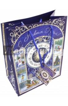 Пакет бумажный 40.6х48.9х19см Новогодние часы (75333)Подарочные пакеты<br>Бумажный пакет Новогодние часы для сувенирной продукции , с ламинацией, с шириной основания 40,6 см, плотность бумаги 157 г/м2 / 40.6х48.9х19см.<br>