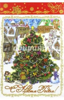 Украшение новогоднее оконное Ёлка в городе (41680/72)Новогодние сувениры<br>Украшение новогоднее оконное из ПВХ пленки.<br>Декорировано глиттером, крепится к гладкой поверхности стекла посредством статического эффекта.<br>Размер: 30х38 см.<br>Сделано в Тайване.<br>