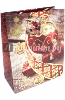 Пакет бумажный 26х32.4х12.7 см Красный шар (75370)Подарочные пакеты<br>Бумажный пакет  с 2-х цветным тиснением Красный новогодний шар для сувенирной продукции, <br>С ламинацией.<br>Ширина основания: 26 см.<br>Плотность бумаги 250 г/м2.<br>Размер: 26х32,4х12,7 см.<br>Сделано в Китае.<br>