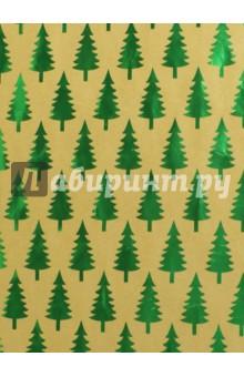 Бумага крафт Зеленые елочки (76692)Подарочная упаковка<br>Крафт бумага для сувенирной продукции в листах.<br>Немелованная, с полноцветным декоративным рисунком, плотность 60 г/м2.<br>Свернута в рулон.<br>Размер: 100х70 см.<br>Сделано в Китае.<br>
