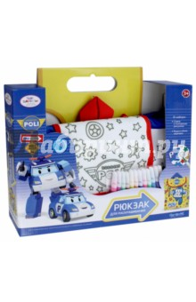 Сумка-рюкзак для раскрашивания Робокар Поли (02230)Роспись по ткани<br>Рюкзак для раскрашивания с изображением героев мультика Робокар. Изготовлен из шелковистой ткани, на которую нанесен контурный рисунок для раскрашивания. С помощью специальных несмываемых маркеров для ткани ребенок может создать собственный дизайн. <br>Рюкзак пригодится в путешествии, прекрасно подойдёт для всех активных детей.<br>В наборе: сумка с контурным рисунком (31х30х12 см.), водостойкие маркеры (12 цветов).<br>Материал: полиэстер, полимерные материалы.<br>Для детей старше 3-х лет. <br>Не рекомендуется детям до 3-х лет. Содержит мелкие детали.<br>Сделано в России.<br>
