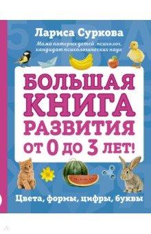 Большая книга развития от 0 до 3 лет! Цвета, формы, цифры, буквыЗнакомство с буквами. Азбуки<br>В этом сборнике, разработанном как раз для раннего развития вашего малыша, собраны основополагающие элементы его обучения:<br>- основные цвета и цвета радуги, а также цвета в картинках;<br>- фигуры и формы;<br>- изображения цветов, овощей, фруктов и животных;<br>- времена года;<br>- день и ночь;<br>- счет от 1 до 10 и счет в картинках;<br>- азбука и первые слова малыша. <br>Правильно подобранные иллюстрации и размер картинки способствуют раннему развитию интеллекта и речи.<br>Для детей до 3-х лет.<br>