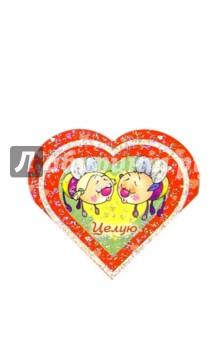 9Т-039/Целую!/мини-открытка сердечко двойная