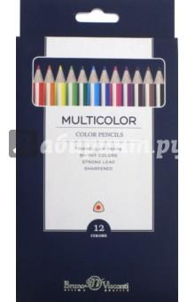 Карандаши цветные, 12 цветов Multicolor (30-0002)Цветные карандаши 12 цветов (9—14)<br>Карандаши цветные.<br>12 цветов.<br>Специальные характеристики:<br>- Деревянный корпус.<br>- Трехгранные.<br>- Яркие цвета.<br>- Предварительно заточенные.<br>- Прочный неломающийся грифель<br>- Многослойная прокраска корпуса предотвращает скольжение пальцев<br>Размер карандаша: 175х7 мм.<br>Диаметр грифеля: 3 мм.<br>Состав: корпус - древесина липы, лакокрасочное покрытие, грифель - глина, красящие предметы, жировые добавки, вяжущее вещество.<br>Упаковка: картонная коробка с подвесом.<br>Сделано в КНР.<br>