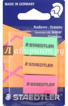 Набор цветных ластиков 3 штуки, неоновые (526FBK3)Ластики<br>Набор цветных ластиков 3 штуки в картонной упаковке с подвесом.<br>Сделано в Германии<br>