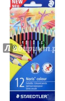 Набор карандашей 12 цветов Noris Colour (185C12LQ)Цветные карандаши 12 цветов (9—14)<br>Классические шестигранные карандаши стандартного размера для всех возрастных групп;<br>Стержень надежно защищен ABS - белым специальным покрытием для укрепления грифеля и защиты от поломок. <br>Прочные грифели сочных цветов;<br>Легко затачивать при любом качестве точилки;<br>Карандаши имеют специальное лакированное покрытие;<br>Яркие цвета, мягкий грифель. <br>Цветные карандаши  соответствуют Европейскому стандарту  EN 71 (требования безопасности к игрушкам);<br>Набор из 12 цветов в картонном коробе, имеющем встроенную систему подвески для розничных магазинов;<br>Сделано в Германии.<br>