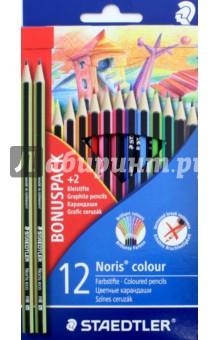 Карандаши 12 цветов + 2 чернографитных (185SET3LQ)Цветные карандаши 12 цветов (9—14)<br>Классические шестигранные карандаши стандартного размера для всех возрастных групп;<br>Стержень надежно защищен ABS - белым специальным покрытием для укрепления грифеля и защиты от поломок. <br>Прочные грифели сочных цветов;<br>Легко затачивать при любом качестве точилки;<br>Карандаши имеют специальное лакированное покрытие;<br>Яркие цвета, мягкий грифель. <br>Цветные карандаши  соответствуют Европейскому стандарту  EN 71 (требования безопасности к игрушкам);<br>Набор из 12 цветов в картонном коробе, имеющем встроенную систему подвески для розничных магазинов;<br>Грифель диаметром 3 мм.<br>В набор входит 2 чернографитных карандаша.<br>Сделано в Германии.<br>