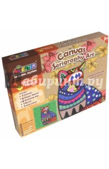 Большой набор для шелкографии Кот (CH1338)Роспись по ткани<br>Игровой набор для детского творчества из картона.<br>В наборе: 1 холст, 4 бумажных трафарета, 6 тюбиков с краской, 1 кисточка, 1 инструкция.<br>Для детей от 3-х лет.<br>Сделано в Китае.<br>