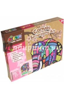 Большой набор для шелкографии Слон (CH1342)Роспись по ткани<br>Игровой набор для детского творчества из картона.<br>В наборе: 1 холст, 4 бумажных трафарета, 6 тюбиков с краской, 1 кисточка, 1 инструкция.<br>Для детей от 3-х лет.<br>Сделано в Китае.<br>
