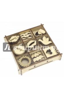 Набор украшений в коробке Свадебный  №2Скрапбук<br>Набор украшений в коробке.<br>9 видов украшений по 4 штуки каждого вида.<br>Материал: фанера 3 мм.<br>Размер коробки: 10,5х10,5 см.<br>Сделано в России.<br>