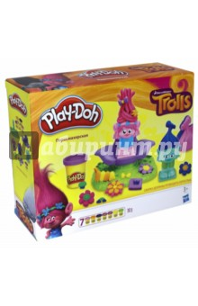 Набор Тролли. Парикмахерская (B9027)Наборы для лепки с игровыми элементами<br>Герои известных мультфильмов снова с Play-Doh!<br>Набор включает 2 фигурки героев, кресло парикмахера в разобранном виде, аксессуары, ножницы и 7 стандартных баночек Play-Doh.<br>Для детей от 3-х лет.<br>Сделано в Китае.<br>