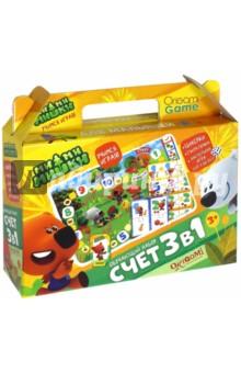 МиМиМишки. Обучающий набор 3в1 Счет (03525)Обучающие игры<br>Отправьтесь с Кешой и Тучкой в удивительное приключение с набором 3 в 1, где обучение - не скучное однообразное занятие, а веселое развлечение для детей и их родителей.<br>Комплектность: Циферки ( 24 карточки), Считалочка (32 карточки), настольная игра от 1 до 10 (игровое поле, 4 фишки, 4 подставки, кубик).<br>Изготовлено из бумаги, картона, полимерных материалов.<br>Для детей от 3 лет. <br>Сделано в России.<br>
