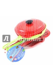 Набор посуды для кухни (8 предметов) (РТ-00561)Наборы игрушечной посуды<br>Набор в сетке: 3 сковороды, 3 лопатки, крышка, салфетка.<br>Материал: пластмасса, текстиль.<br>Возраст: 3+<br>Сделано в Китае.<br>