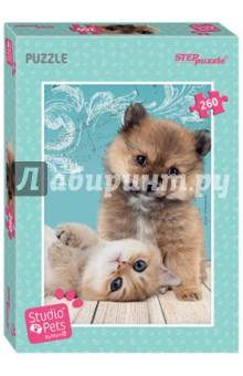 Puzzle-260 Мирна (95067)Пазлы (200-360 элементов)<br>Пазл Мирна с изображением чудесных котёнка и щенка от группы Studio Pets by Myrna состоит из 260 деталей. Посмотрите, как позируют эти пушистики и как они ласково на вас смотрят. Соберите этот пазл быстрее!<br>Сборка пазлов - увлекательное хобби, оно станет прекрасным украшением семейного вечера.<br>Характеристики пазла: <br>стандартные детали пазла (2х1,7 см);<br>размер собранного изображения - 34,5х24 см;<br>качественное яркое изображение;<br>материал - картон;<br>экологически чистые, нетоксичные материалы (компания Step Puzzle гарантирует высокое качество пазла и точность подгонки).<br>Пушистые друзья вызовут улыбку у всех домочадцев. Соберите пазл Мирна вместе!<br>Пазл понравится взрослым и детям от 6 лет.<br>Не рекомендуется детям до 3-х лет. Содержит мелкие детали.<br>Сделано в России.<br>