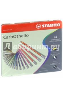 """Карандаши 24 цвета """"CarbOthello"""" пастель, металлическая коробка (1412-6)"""