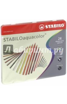 Карандаши 24 цвета AQUACOLOR акварельные, металлическая коробка (1624-5)Цветные карандаши более 20 цветов<br>Для создания рисунков с эффектом акварельных красок надо растушевать рисунок кистью с водой или увлажнить бумагу перед рисованием. Идеально подходит для рисоваия в качестве классического цветного карандаша благодаря насыщенным цветам и мягкому грифелю, обеспечивающему легкость нанесения и отличную смешиваемость цветов.<br>Сделано в Германии.<br>