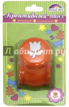 Панч-дырокол кнопочный Тюльпан (рисунок 25 мм) (45799)Сопутствующие товары для детского творчества<br>Панч-дырокол с кнопкой для декоративной перфорации бумажных листов.<br>Предназначен для художественно-оформительских работ.<br>Размер рисунка 25 мм.<br>Сделано в Китае.<br>