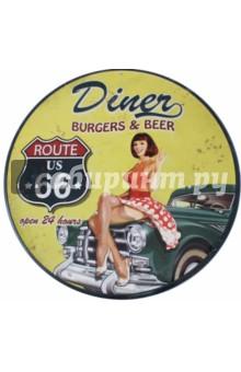 Табличка декоративная Diner (металлическая, круглая, 30х30 см)Табличка декоративная рельефная.<br>Металлическая, круглая.<br>Можно использовать как в помещении, так и на улице.<br>Размер: 30х30 см.<br>Сделано в Китае.<br>
