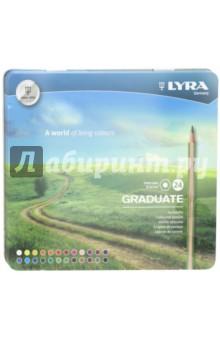 Карандаши цветные Graduate Permanent (24 цвета) (L2871240)Цветные карандаши более 20 цветов<br>Высококачественные шестигранные цветные карандаши.<br>В наборе 24 цвета.<br>Диаметр: 3,8 мм.<br>Деревянный корпус.<br>В металлическом пенале.<br>Сделано в Китае.<br>