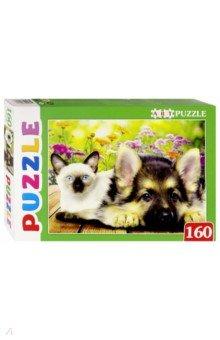 "Artpuzzle-160 ""Сиамский котенок и щенок"" (ПА-4572)"