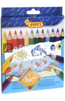Карандаши 12цв. 735/12Цветные карандаши 12 цветов (9—14)<br>Очень мягко пишут! Натуральная основа грифеля в деревянном корпусе. Оригинальной треугольной формы.  <br>Толщина: 10 мм.<br>Длина: 175 мм.<br>Рисуют на бумаге, ватмане, картоне.<br>Состав: пигменты, воск, загустители, наполнители, пластификатор, целлюлоза.<br>Для детей от 3-х лет.<br>Сделано в Китае.<br>