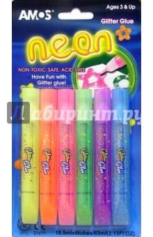 """Клей оформительский """"Neon"""" 6 цветов (с блестками) /20633  (в блистере)"""