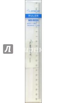 Линейка 20 см прозрачный пластик /6220 (в пластиковом блистере)