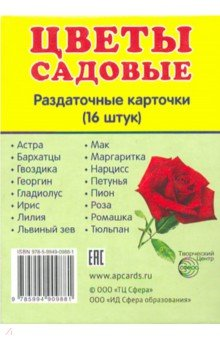 Раздаточные карточки Цветы садовые (16 штук)